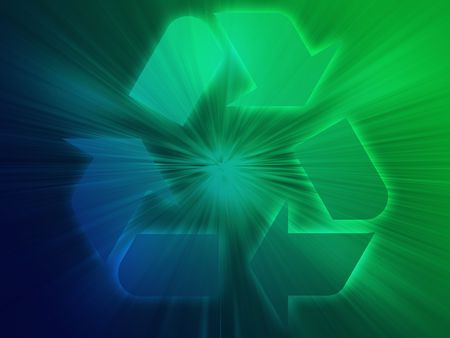sustain: Recycling eco symbol illustration on abstract design Stock Photo