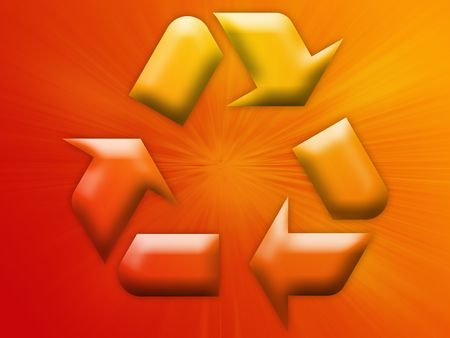 Recycling eco symbol illustration on abstract design Stock Photo