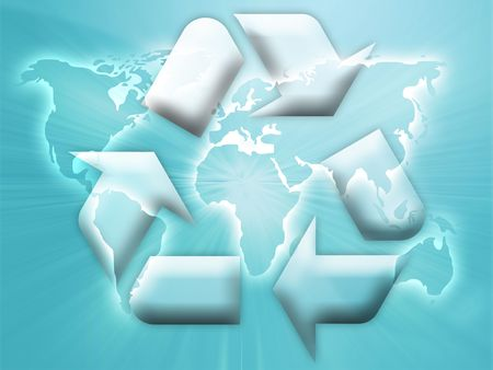 wastage: Recycling eco symbol illustration over world map