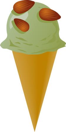 amande: Fancy d�cor�es de cr�me glac�e d'amandes de pistaches, de l'illustration