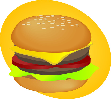 pickle: Hamburger with cheese tomatoes and lettuce. fastfood illustration