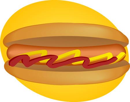 weiner: Hotdog illustration, sausage between buns with ketchup and mustard