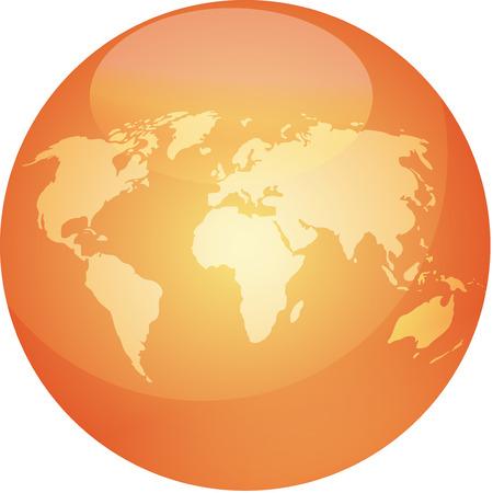 wereldbol groen: Kaart van de wereld in glanzend gekleurde bol