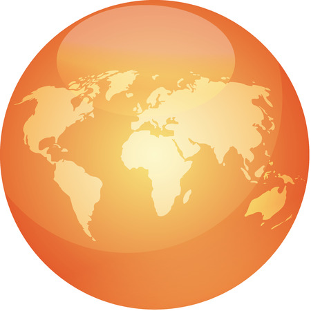 orange swirl: Map of the world in glossy colored sphere