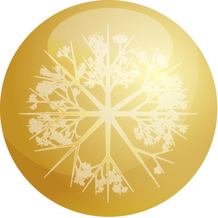crystalline gold: Christmas tree ornament snowflake design on glossy ball