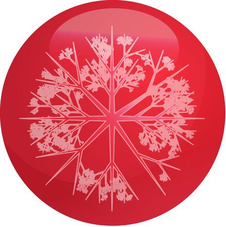 crystalline: Christmas tree ornament snowflake design on glossy ball
