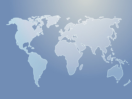 world map outline: Map of the world illustration, simple outline on gradient color