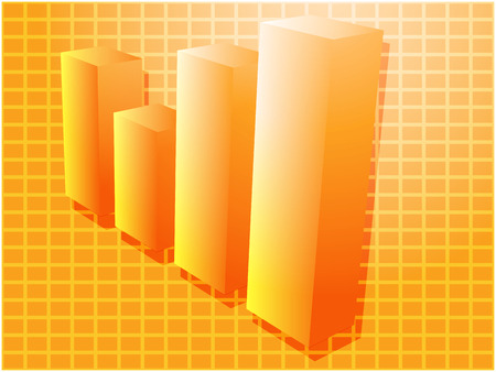 commissions: Three-d barchart financial diagram illustration over square grid Illustration