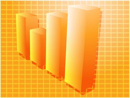 barchart: Three-d barchart financial diagram illustration over square grid Illustration