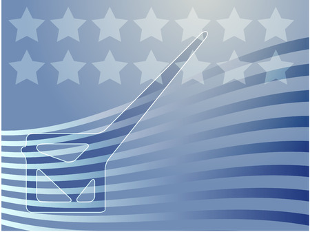 checked flag: Checkmark over stars and stripes, illustrationg United States elections