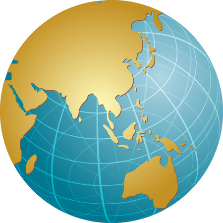 cartographical: Map of the Asia, on a spherical globe, cartographical illustration Illustration