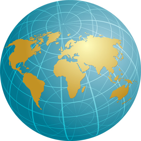 spherical: Map of the world illustration, on spherical globe with grid