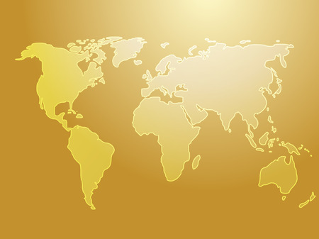 Map of the world illustration, simple outline on gradient color Vector