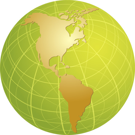 Map of the Americas, on a globe, cartographical illustration Vector