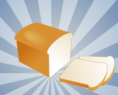 basic food: Illustration of a sliced loaf of bread on radial burst background