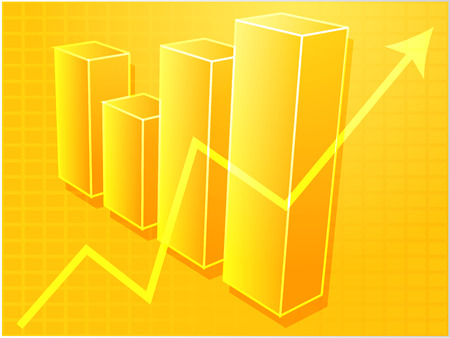 Three-d barchart and upwards line graph financial diagram illustration over square grid Vector