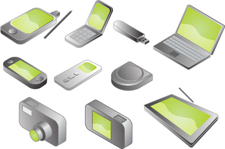 Illustration of various electronic gadgets in isometric format Stock Vector - 3894325