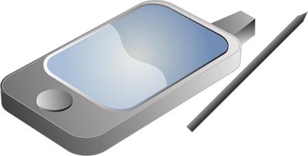 agenda electr�nica: Tel�fono PDA ilustraci�n en 3D isom�trica estilo