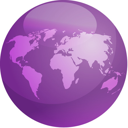 Map of the world in glossy colored sphere Vector