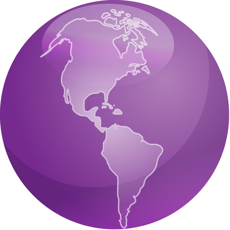 americas: Map of the Americas on a glossy sphere Illustration
