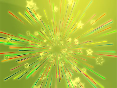 Central bursting explosion of dynamic flying stars, abstract illustration illustration