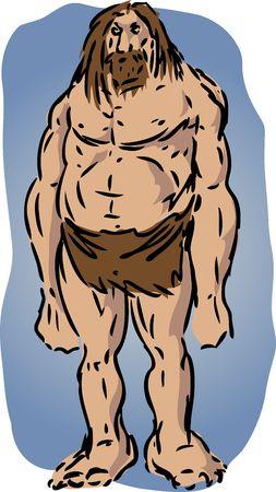 Caveman illustration, sketch of brutish muscular primitive man illustration