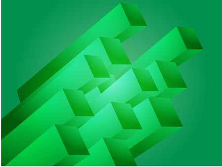 graphical: Abstract 3d geometric rectangular cluster shape illustration
