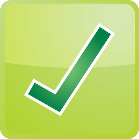 Confirm navigation icon glossy button, square shape Stock Photo - 3902240