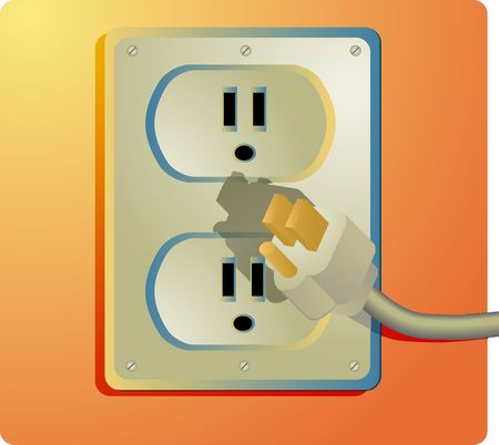 wall socket: Electrical outlet and plug, wall socket US style Stock Photo
