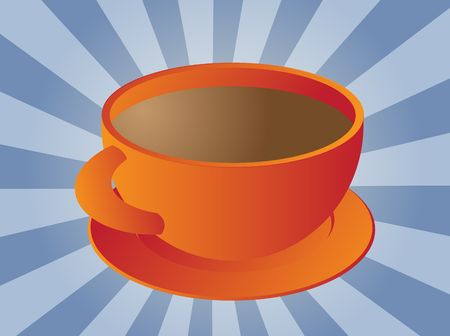 Cup of coffee in round orange ceramic cup Stock Photo - 3902317