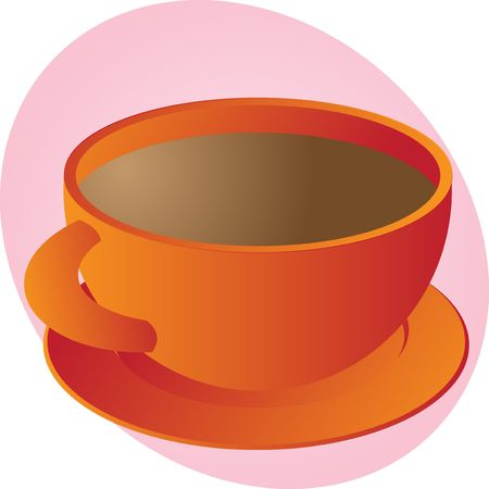 Cup of coffee in round orange cup Stock Photo - 3902308