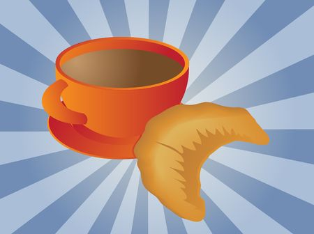 Mug of coffee and croissant pastry illustration Stock Illustration - 3902329