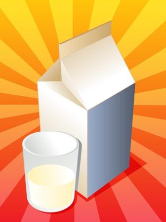 carton de leche: Leche en cart�n con ilustraciones llenas de vidrio