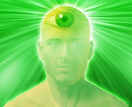 Man with third eye, psychic supernatural senses Stock Photo - 3942759