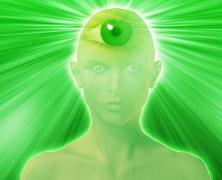 Woman with third eye, psychic supernatural senses Stock Photo - 3942757