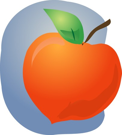 healthful: Sketch of whole fresh peach, fruit illustration