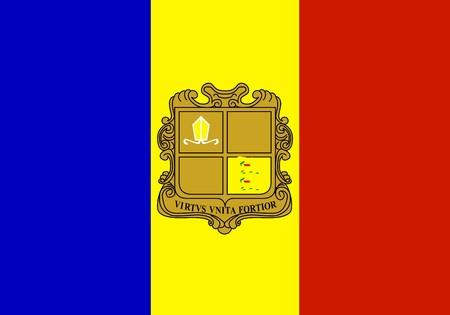 andorra: Flag of Andorra, national country symbol illustration