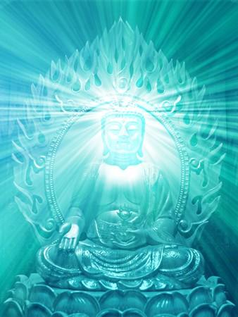 Buddha religious illustration with glowing light halo Stock Illustration - 3964189