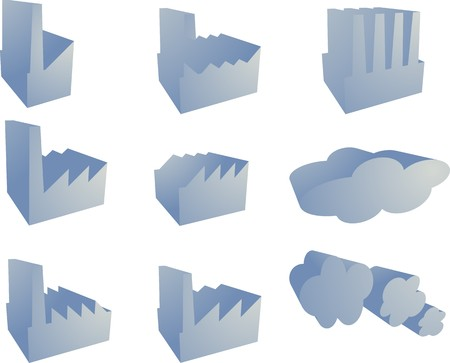 Icon set of factory industry illustration clipart 3d Stock Photo