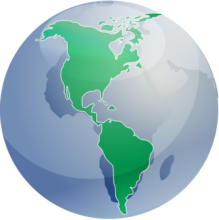americas: Map of the Americas, on a sperhical globe, cartographical illustration