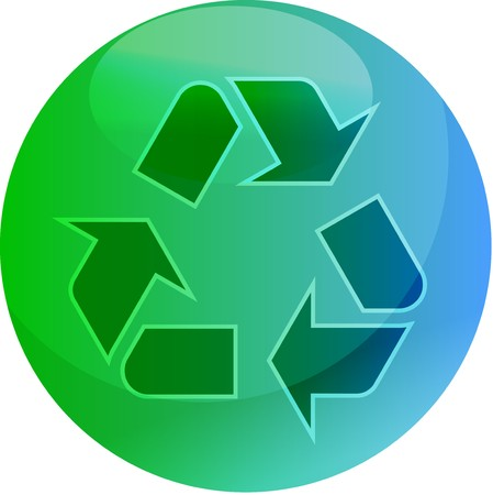 Recycling eco symbol illustration of three pointing arrows on a glossy sphere