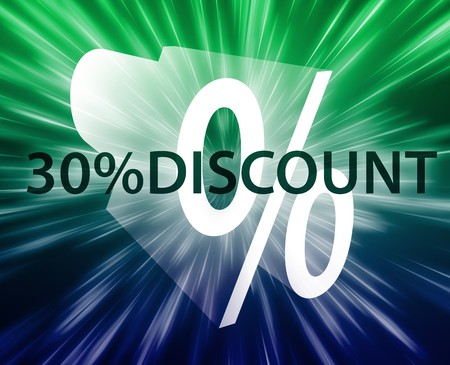 retailing: Thirty percent discount, retail sales promotion announcement illustration