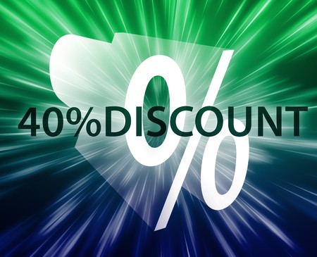 forty: Forty percent discount, retail sales promotion announcement illustration Stock Photo