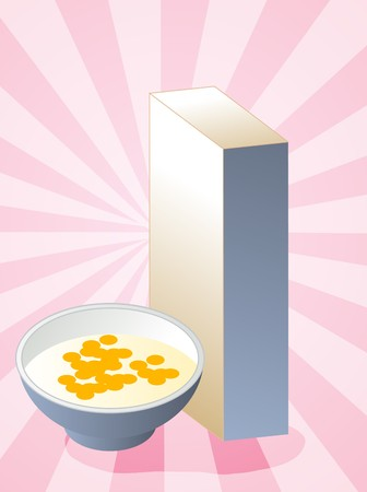Breakfast cereal with milk in bowl with box