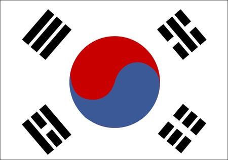 Flag of South Korea, national country symbol illustration illustration