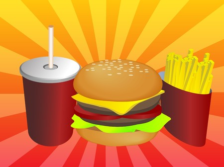 Fast food combo illustration, hamburge fries drink illustration