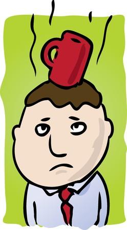 Cartoon illustration of man with coffee on head Stock Illustration - 4002110
