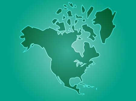 continente americano: Mapa del continente de Am�rica del Norte, EE.UU. Canad� Mexico