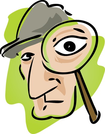 investigators: Cartoon illustration of detective with magnifying glass