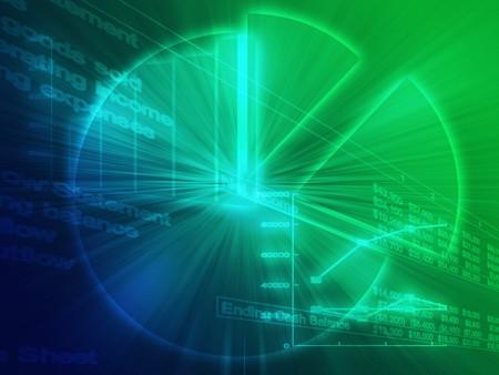 ascending: Ilustraci�n de los datos de hoja de c�lculo y gr�ficos de negocios en estilo wireframe brillante